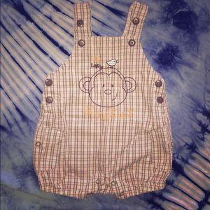 ✨4/$15✨My lil' Monkey Plaid Overalls 0-3m boy